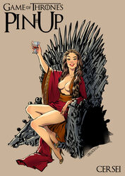 a_song_of_ice_and_fire alcohol andrew_tarusov artist_name blonde_hair breasts cersei_lannister character_name copyright_name dress drink english english_text feet female female female_only footwear game_of_thrones high_resolution hips holding_object human legs lips lipstick long_hair looking_at_viewer makeup medium_breasts milf mother nail_polish nipples shoes signature simple_background sitting smile solo sword text thighs throne very_high_resolution weapon
