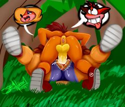 anthro anus ass balls bandicoot clothed clothing crash_(series) crash_bandicoot cum cum_in_pussy cum_inside cum_on_penis erection female footwear hair half-closed_eyes jaynatorburudragon jungle lying male male/female mammal marsupial on_back on_floor on_top open_mouth orgasm outside penetration penis presenting presenting_anus presenting_hindquarters raised_leg sex shoes shorts smile spread_legs spreading straight tawna_bandicoot thick_thighs tongue tongue_out uncut vaginal_penetration video_games
