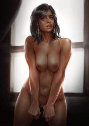 1girl alluring arms_framing_breasts athletic bare_shoulders black_hair blizzard_entertainment braid breast_squeeze breasts brown_eyes casual clavicle cleavage dark-skinned_female dark_skin egyptian eye_of_horus eyebrows eyelashes eyeshadow facial_mark facial_tattoo female female_only female_solo firolian framing_breasts hair_tubes head_tilt high_resolution hips indoors large_breasts legs lingerie lips lipstick long_hair looking_at_viewer makeup medium_breasts medium_hair navel nipples nose nude overwatch panties parted_lips pharah pinup pussy realistic sexy_pose shiny side_braids signature solo standing tattoo thighs tied_hair toned topless v_arms vagina very_high_resolution video_game video_games window