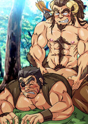 anal armpit_hair arrow ass bara beard blush bow_(weapon) chest_hair clenching_teeth duo earring eye_patch forest funeral-paws gay goatee grass grin human la_divina long_hair male muscles nipples pointy_ears pubes satyr scar