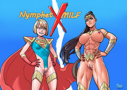 2017 2girls abs alien amazon amazonian armlet armor artist_name bare_shoulders belt black_hair blonde blue_background blue_eyes blue_leotard boots bracelet braces breasts cape clothed clothed_female covered_breasts cutout dated dc dc_comics diana_prince english english_text female female_only gauntlets gloves hair_ornament highleg highleg_leotard hips injustice:_gods_among_us jewelry justice_league kara_zor-el kryptonian large_breasts lasso lasso_of_truth legs leotard long_hair looking_down makeup medium_breasts medium_hair multiple_girls muscle muscular_female nail_polish nipple_piercing nipple_piercings nipples nude piercing ponytail pussy red_gloves shoes simple_background standing supergirl superhero superheroine superman_(series) tekuho text thigh_boots thighhighs thighlet thighs tiara tied_hair topless vagina very_long_hair watermark wonder_woman wonder_woman_(series) younger