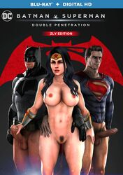 1girl 2boys 3d adapted_costume alien amazon amazonian animal_ears animal_mask artist_name bare_shoulders bat_ears batman batman_(series) batman_v_superman belly black_gloves black_hair blue_eyes bracelet breasts brown_hair bruce_wayne cape character_name clark_kent clothed_male clothed_male_nude_female clothing cock copyright_name costume cowl dc dceu diana_prince english english_text erect erection fake_animal_ears female female_pubic_hair gauntlets gloves hips human jewelry kal-el kryptonian large_breasts legs long_hair looking_at_viewer male mask medium_hair multiple_boys navel nipples nude nude_female_clothed_male penis pubic_hair pussy pussy_juice short_hair source_filmmaker standing superhero superheroine superman superman_(series) testicles text thighs tiara topless vagina wet wonder_woman zly
