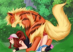 arcanine blush brown_hair canine female from_behind hat hilda_(pokemon) male open_mouth outdoors pokephilia sex smile straight thighsocks tongue_out zoophilia