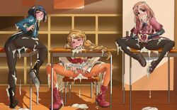 3girls absurdres after_sex ass black_hair blonde_hair blush boots braid brown_hair classroom cum cum_in_ass cum_in_pussy cum_on_clothes female galilei_donna hairband hazuki_ferrari highres hozuki_ferrari indoors kazuki_ferrari looking_at_viewer multiple_girls pantyhose patrickdja pink_eyes pussy school_uniform short_hair siblings sisters skirt smile spread_pussy sunlight twin_braids