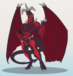 2017 anthro balls biceps black_scales claws demon dragon erection feet full-length_portrait full_length hi_res horn horns male monster muscular nude orange_eyes pecs penis red_dragon_archfiend scales scalie smile solo standing tail teeth tongue undeadkitty13 wings yu-gi-oh!