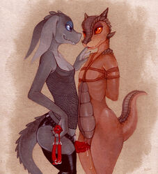anthro ball_gag blue_eyes bondage bondage bound breasts clothing dildo duo female female/female fishnet flat_chested fuchs gag grey_body hi_res horn kobold legwear orange_eyes pussy_juice red_body red_eyes scales scalie sex sex_toy small_breasts strapon thigh_highs thigh_sex