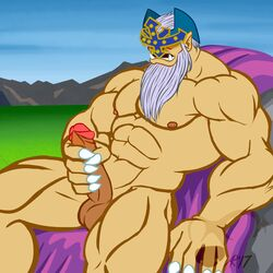 2017 abs anso/rez balls barazoku beard biceps big_muscles big_penis blush cape claws clothing erection facial_hair fangs grass grey_hair hair headgear humanoid humanoid_penis judge_man konami lying male manly mask masturbation mountain muscular muscular_male nipples not_furry nude on_back open_mouth outside pecs penis pointy_ears rock sitting sky solo spread_legs spreading teeth yu-gi-oh!