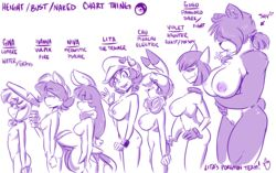 2015 anthro anthrofied areola beverage big_breasts blush breast_size_difference breasts bust_chart canine chu_(duckdraw) clothing coffee collar dickgirl duckdraw ear_piercing female flat_chested food fox gina_(duckdraw) gloves gogo group hair_over_eyes hat haunter human industrial_piercing intersex inverted_nipples ivanna lineup lita_(duckdraw) lombre looking_at_viewer mammal meowstic model_sheet multi_tail nintendo nipples niva nude pangoro penis piercing pikachu pokemon pokemorph ponytail profile pubes rodent side_boob side_view simple_background small_breasts smile spiked_collar spikes video_games violet_(duckdraw) vulpix watch waving white_background