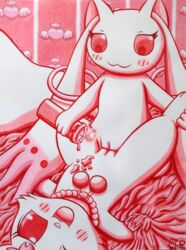 2017 accessories bed_sheet bedding bedroom blush_sticker candle crossover female fluffy fluffy_tail grabbing hare incubator_(species) jewelpet jewelry kyuubee lagomorph lying mahou_shoujo_madoka_magica mammal monochrome mukucookie necklace on_back one_eye_closed open_mouth pussy red_eyes ruby_(jewelpet) sanrio sex smile traditional_media_(artwork) tribadism wax_play yuri