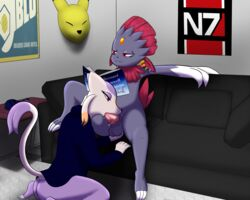 ambiguous_gender anglo anthro balls bottomless clothed clothing dizz(anglo) furry hand_on_balls male mammal mienshao nintendo nude oral penis pokemon reading video_games weavile