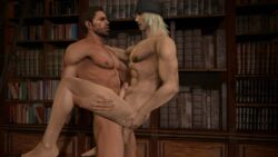 abs anal animated bara blonde_hair brown_hair chris_redfield erection facial_hair final_fantasy gay lifting male_focus multiple_boys muscle nude pecs penetration penis resident_evil sex snow_villiers source_filmmaker testicles thrusting yaoi