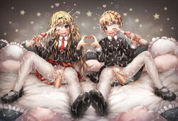 2girls after_sex aldnoah.zero black_bow black_shirt blonde_hair blush bow braid bukkake clitoris cum cum_in_mouth cum_in_pussy cum_on_body cum_on_clothes cum_on_hair cum_on_lower_body cum_string disembodied_penis drooling eddelrittuo ejaculation emperpep eyebrows eyebrows_visible_through_hair facial hair_between_eyes hairbow handjob heart_hands heart_hands_duo heavy_breathing long_hair long_sleeves looking_at_viewer mashiro_rima multiple_girls multiple_penises necktie one_eye_closed open_mouth pantyhose penis pillow pussy pussy_juice saliva school_uniform sex shirt shoes shugo_chara! sitting skirt spread_legs star teeth torn_pantyhose uncensored vaginal_penetration white_legwear white_pantyhose