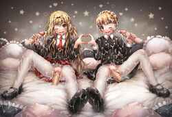 2girls after_sex aldnoah.zero black_bow black_shirt blonde_hair blush bow braid bukkake clitoris cum cum_in_mouth cum_in_pussy cum_on_body cum_on_clothes cum_on_hair cum_on_lower_body cum_string disembodied_penis drooling eddelrittuo emperpep eyebrows eyebrows_visible_through_hair facial hair_between_eyes hairbow handjob heart_hands heart_hands_duo heavy_breathing long_hair long_sleeves looking_at_viewer mashiro_rima multiple_girls multiple_penises necktie one_eye_closed open_mouth pantyhose penis pillow pussy pussy_juice saliva school_uniform sex shirt shoes shugo_chara! sitting skirt spread_legs star teeth torn_pantyhose uncensored vaginal_penetration white_legwear white_pantyhose