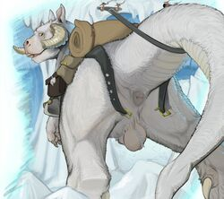2015 animal_genitalia anus ass backsack ball_tuft balls belt feral fur horn licking looking_at_viewer looking_back low-angle_view male mount narse nude penis penis_tip saddle sheath solo star_wars tauntaun tongue tongue_out white_body white_fur