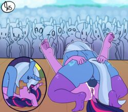 2015 5_toes ambiguous_gender anthro anthrofied anus anvil_position applejack_(mlp) ass audience backsack balls balls_deep barefoot blue_fur blue_hair blue_skin breast_squish breasts butt_grab closed_eyes clothing crowd cum cutaway cutie_mark dickgirl dickgirl/female dock duo_focus equine exhibitionism feet female fluttershy_(mlp) friendship_is_magic fur futanari group hair hand_on_ass horn humanoid_feet intersex intersex/female legs_up legwear lying mammal mating_press missionary_position multicolored_hair my_little_pony nude on_back one_eye_closed outside paws penetration penis pink_hair pinkie_pie_(mlp) plantigrade public public_nudity purple_fur purple_hair purple_skin pussy rainbow_dash_(mlp) raised_arm rarity_(mlp) rear_view saliva saliva_string sex smile soles somescrub spread_legs spreading stage stockings thigh_highs toe_curl toes trixie_(mlp) twilight_sparkle_(mlp) two_tone_hair uncensored unicorn vaginal_penetration