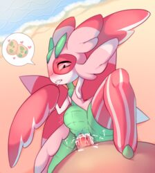 1boy antennae arm_up armpits bad_id beach black_eyes blush cum cum_in_pussy drooling egg erection female from_above heart highres insect_girl looking_down lurantis lying monster on_back outdoors penis pink_sclera pokemon pokemon_(creature) pokemon_sm pussy raikissu saliva sex spoken_heart spread_legs stomach_bulge straight teeth uncensored vaginal_penetration water