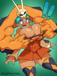 assisted_exposure big_breasts breasts cerebella cleavage covered_nipples female female_only large_breasts lightsource skullgirls solo thighhighs torn_clothes