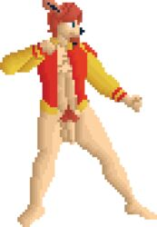 affectos austin balls barefoot bottomless canine clothed clothing facial_hair fighting_stance flaccid hair humanoid_penis hybrid letterman_jacket male mammal penis pixel_(artwork) pubic_hairs solo sprite_art standing uncut