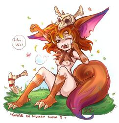 fangs female gnar humanized league_of_legends looking_at_viewer piercing riot_games rule_63 simple_background solo teeth tusks white_background yordle