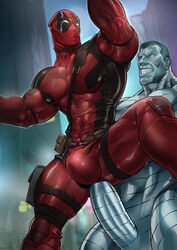 2boys anal bara colossus deadpool luxuris male male_only marvel outside penis public spandex x-men yaoi