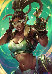 1girl adapted_costume alternative_costume animal_print arched_back armor armored_boots artist_name asymmetrical_hair backpack bag bare_shoulders belly black_gloves blizzard_entertainment blue_gloves bomber_jacket boots bracelet brazilian breasts brown_eyes brown_gloves brown_hair brown_jacket brown_lipstick cable clavicle cleavage cornrows costume covered_breasts crop_top curvaceous dark-skinned_female dark_skin dated deviantart_username dreadlocks eyelashes eyeliner eyewear female female_only fingerless_gloves frog_print genderswap gloves green_gloves green_shirt gun hair_ornament hair_tie hand_on_headphones hand_to_head handgun headdress headphones headwear high_ponytail high_resolution hose human jacket jewelry kachima kneeling large_breasts leather_jacket lips lipstick long_hair looking_at_viewer lucio makeup mascara megane midriff navel nose overwatch patreon_reward ponytail power_armor rule_63 shirt signature sleeveless sleeveless_shirt smile solo spaghetti_strap stomach tank_top tattoo taut_clothes taut_shirt tied_hair very_high_resolution very_long_hair video_game visor weapon