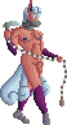 affectos animal_genitalia balls canine chains clothed clothing digital_media_(artwork) fighting_stance fox hair holding_object holding_weapon hybrid kusari-gama male mammal melee_weapon multi_tail nintendo nipples pixel_(artwork) pokemon revealing_(disambiguation) sheath sickle skimpy sprite_art standing tails_(disambiguation) topless video_games vulpix weapon weights