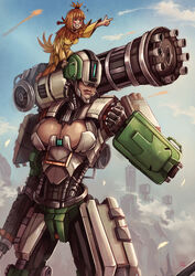 2girls adapted_costume age_difference all_fours alternative_costume android animal armor artist_name barefoot bastion_(overwatch) belt bird black_gloves black_wings blizzard_entertainment blue_sky blush bodysuit boots breasts canon chain_gun cleavage cleavage_cutout closed_eyes costume covered_breasts covered_eyes curvaceous cutout cyberpunk cyborg dated erect_nipples erect_nipples_under_clothes eyes_closed feather-trimmed_sleeves feather_trim feathers feet female female_only footwear ganymede gatling_gun gauntlets genderswap gloves gun helmet high_ponytail high_resolution hips human humanoid juliet_sleeves kachima large_breasts legs long_hair long_sleeves machine machine_gun mask mecha medium_breasts medium_hair minigun multiple_girls nipples omnic orange_hair overwatch pistol ponytail power_armor puffy_sleeves rule_63 shoes signature size_difference sky spread_wings standing thick thick_thighs thighs tied_hair toes topknot very_high_resolution video_game visor weapon wide_hips wings