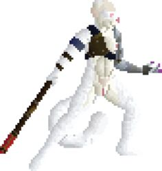 affectos albino anthro areola breasts claws cybernetic_arm cybernetics digital_media_(artwork) feline female fighting_stance fur machine mammal nipples pixel_(artwork) pussy red_eyes science_fiction smile sprite_art staff standing stripes tiger weapon white_fur