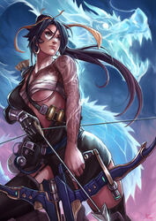 1girl adapted_costume animal anthro antlers arrow artist_name bandages belly belt between_breasts black_gloves black_hair black_legwear black_stockings black_thighhighs blizzard_entertainment blue_background bow_(weapon) breasts brown_eyes chinese_dragon chinese_mythology cleavage costume covered_breasts cowboy_shot curvaceous dated dragon dragon_horns dragon_tattoo earrings eastern_dragon erect_nipples erect_nipples_under_clothes eyelashes fangs fantasy female female_only furrowed_eyebrows furry garter_straps genderswap gloves gradient gradient_background hair_ornament hair_ribbon hairband hanzo high_resolution hips holding holding_bow holding_object holding_weapon hoop_earrings horns human jewelry kachima large_breasts legs lingerie lips long_hair looking_afar looking_to_the_side mechanical_arm medium_breasts midriff mythology navel nipples nose open_mouth overwatch patreon patreon_logo patreon_username ponytail power_armor purple_background quiver reptile ribbon rule_63 sarashi scales scalie serious signature skirt solo standing stomach strap strap_between_breasts strap_cleavage tabard tattoo teeth thighhighs thighs tied_hair transparent_body underboob underwear very_high_resolution very_long_hair video_game visor wafuku watermark weapon web_address whiskers yellow_hair_ornament yellow_hairband yellow_ribbon