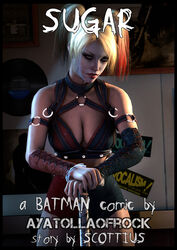 ayatollaofrock blonde_hair cleavage harley_quinn leather superhero twintails