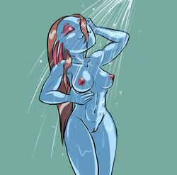 abs breasts erect_nipples female fish navel nipples pussy red_hair relatedguy shower simple_background solo undertale undyne