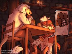 canine chastity chastity_belth chastity_cage eyazen footjob garelth horse hybrid kelevtov lion paw public_humiliation sweat tavern teasing under_the_table wolf