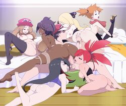 1boy 6girls all_fours anus areolae ass asymmetrical_hair azami_(pokemon) back bare_shoulders barefoot bed big_ass big_penis black_hair blonde_hair blue_eyes blush bottomless bracelet breast_sucking breasts breasts_out brown_eyes brown_hair closed_eyes cynthia_(pokemon) dark-skinned_female dark_skin drooling earrings eyelashes feet fellatio female fingering flannery hair_ornament hair_over_one_eye half-closed_eyes harem hat high_heels human interracial jewelry kasumi_(pokemon) large_ass large_breasts legs legwear lexus_(artist) licking lipstick long_hair looking_at_viewer looking_back male milf multicolored_hair multiple_girls nintendo nipples nude olivia_(pokemon) on_back open_mouth oral orange_hair penis penis_licking pillow pink_hair pokemon pokemon_frlg pokemon_rse pokemon_sm pokemon_xy ponytail purple_hair pussy red_(pokemon) red_eyes red_hair saliva scarf serena_(pokemon) sex shirt shirt_down short_hair side_ponytail smile soles spread_legs straight sucking_testicles sunglasses sunglasses_on_head tank_top testicles thick_thighs thighhighs tied_hair toes tongue tongue_out top_down vaginal_penetration
