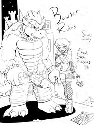 absurd_res anthro big_penis bikini black_and_white bowser clothing duo female fishnet fishnet_armwear fishnet_handwear fishnet_legwear hi_res human koopa legwear male mammal mario_bros monochrome nintendo penis princess_peach scalie skirt slashysmiley socks swimsuit text thigh_socks video_games