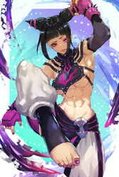 abs armpits bangs black_hair bracelet breasts capcom clothed detached_sleeves drill_hair feet female female_only fingerless_gloves foot_focus gloves glowing_eye highres human juri_han katsuan_(mikecat38) large_breasts looking_at_viewer muscles muscular_female nail_polish navel pink_eyes pov_feet purple_nails sideboob sidelocks skimpy solo spiked_bracelet spikes street_fighter street_fighter_iv toeless_legwear toenail_polish toes toned twin_drills underboob