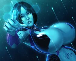 blue_eyes blue_skin clothes cortana halo_(series) huge_breasts solo