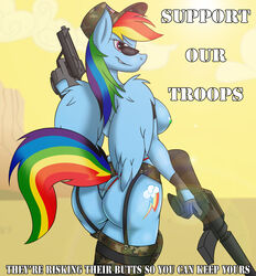 2013 anthro anthrofied army ass assault_rifle blue_feathers blue_fur breasts camo cloud cutie_mark day english_text equine eyewear feathered_wings feathers female friendship_is_magic fur furry garter_belt garter_straps gloves gun handgun hat highres jrvanesbroek looking_at_viewer looking_back m16 mammal multicolored_hair multicolored_tail my_little_pony nipples outdoors pegasus pistol purple_eyes rainbow_dash_(mlp) rainbow_hair rainbow_tail ranged_weapon rifle simple_background skimpy sky smile smirk solo stars_and_stripes sunglasses text united_states_of_america weapon wings