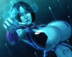 blue_hair blue_skin clothes cortana halo_(series) huge_breasts solo