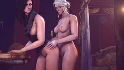 2015 2girls 3d 5_fingers absurdres anal animated areolae balls black_hair blue_eyes book bouncing_breasts breasts ciri dickgirl doggy_style erection eyebrows female futa_on_female futanari green_eyes hair hair_bun hands human imflain injury intersex lips long_hair medium_breasts multiple_girls nipples no_sound nose nude one_breast_out penetration scar sex shiny shiny_skin silver_hair source_filmmaker standing testicles the_witcher the_witcher_3 webm yennefer