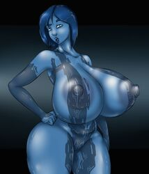 blue_hair blue_skin cortana female halo_(series) huge_breasts looking_at_viewer nipples pussy solo