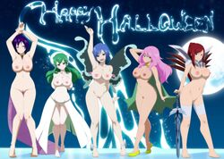 5girls absurdres blue_hair breasts cosmos_(fairy_tail) edit erza_scarlet fairy_tail feet green_hair halloween highres hisui_e._fiore juvia_lockser kinana_(fairy_tail) legs lexus_(artist) multiple_girls nipples pink_hair purple_hair pussy red_hair shaved_pussy
