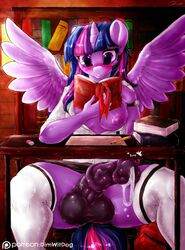 2015 alicorn animal_genitalia animal_penis anthro anthrofied areola balls blush book breasts clothing dickgirl dimwitdog equine equine_penis erection feathered_wings feathers friendship_is_magic fur hair hi_res horn inside intersex legwear library long_hair mammal multicolored_hair my_little_pony nipples paper pencil_(object) penis precum purple_body purple_eyes purple_feathers purple_fur purple_hair sitting solo spread_legs spreading thigh_highs twilight_sparkle_(mlp) two_tone_hair watch wings
