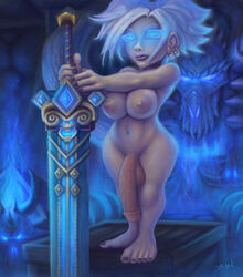 34-san absurdres areolae balls big_penis breasts dickgirl futa_solo futanari gnome highres intersex nipples nude penis shortstack solo testicles world_of_warcraft