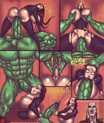 black_widow cum_on_face green_eyes green_skin huge_breasts hulk mnogobatko monster_cock tagme