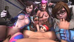 1boy 2016 3d 4girls absurdres areolae asian big_breasts black_hair blush bodysuit breast_grab breasts brown_eyes brown_hair cigar clothed_female_nude_male d.va dark-skinned_female dark_skin erect_nipples erection eyebrows fellatio female fingering fivesome green_eyes gun hair hands human interracial long_hair looking_at_viewer male male_pov mei_(overwatch) multiple_females multiple_girls nail_polish nipples nomonno nose open_mouth oral phone pink_hair pink_nails pov pussy shiny shiny_skin smoking source_filmmaker sprinter_tracer stomach symmetra tongue tracer weapon zarya