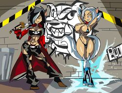 2girls abs animal_ears anthro arms_behind_head arms_up bare_shoulders belt big_breasts bikini bikini_bottom bikini_top black_hair busty catgirl cleavage coat collar curvy detailed_background duo elbow_gloves female female/female female_only fluffy_tail footwear front_view furry g-string gloves graffiti hair_over_one_eye hand_behind_head hands_behind_head high_heels holding_object hourglass_figure humanoid katana legwear long_hair looking_at_viewer mammal manic47 multiple_females multiple_girls muscle muscular muscular_female open_coat original_character outdoor outside panties pose posing red_panties shadow shiny shiny_skin skimpy sling_bikini standing stockings swimsuit sworld tail tearing_clothes thong torn_clothes trash_can trashcan trenchcoat tube_top tubetop underboob underwear voluptuous wall weapon white_footwear white_gloves white_hair white_legwear white_stockings wide_hips yellow_eyes