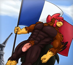 2017 abs anthro avian balls beak biceps big_penis bird chest_tuft chicken circumcised cloud corrsk day digital_media_(artwork) eiffel_tower feathers flag france french french_flag humanoid_penis male male_only muscular muscular_male navel nude outside pecs penis pubes sky solo solo_male standing thick_penis tuft