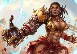 1girl abs adapted_costume armor artist_name asymmetrical_hair belly biceps big_muscles blizzard_entertainment breasts brown_eyes brown_hair cleavage clenched_hand clothing cornrows costume covered_breasts cowboy_shot curvaceous dark-skinned_female dark_skin dated doomfist electricity erect_nipples erect_nipples_under_clothes extreme_muscle eyelashes facepaint facial_mark female female_only gauntlets genderswap genderswap_(mtf) gloves hips huge_breasts human jewelry kachima large_breasts legs lips lipstick long_hair looking_at_viewer makeup manly mechanical midriff multicolored muscle muscular_female navel necklace neckwear nipples nose outdoors overwatch pantsu pecs power_armor power_fist rock rule_63 serious shirtless signature single_glove skin_tight skirt solo standing stomach stream thighs tied_hair tight tight_clothes toned torn_clothes underwear upper_body very_dark_skin video_game white_panties white_underwear wide_shoulders yellow_gloves