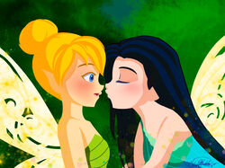 2girls aqua_dress bare_shoulders black_hair blonde_hair blue_eyes closed_eyes disney disney_fairies dress embarrassed fairy fairy_wings female green_dress hair_bun incipient_kiss long_hair looking_at_another mist_(disney_fairies) multiple_girls neck open_mouth peter_pan shiko-k short_hair shy sparkle strapless strapless_dress tinker_bell upper_body wings yuri