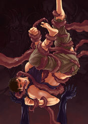 1boy bara barefoot berserk feet guts lifting monster muscle restrained solo_focus tentacle toes torn_clothes undressing